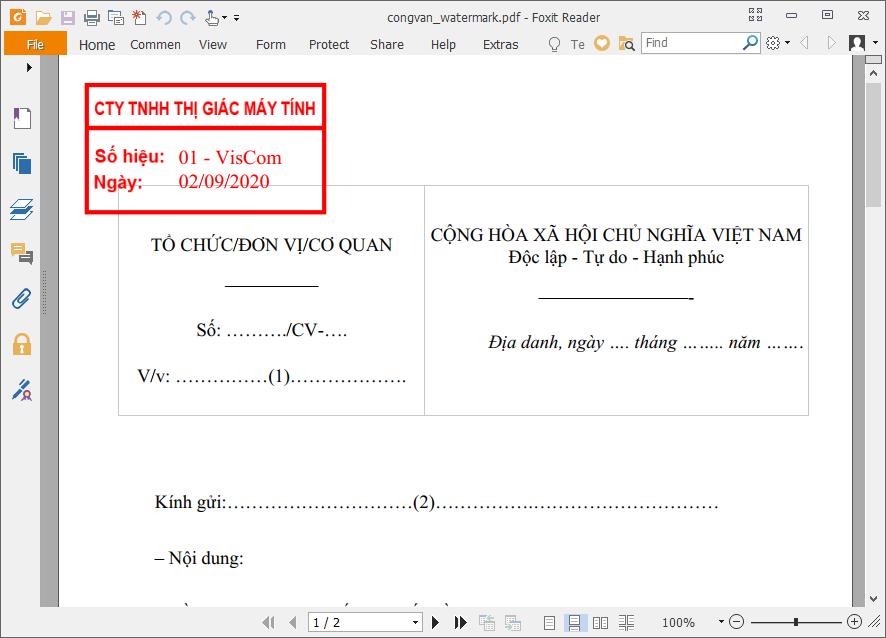 Phần mềm đóng dấu văn bản PDF